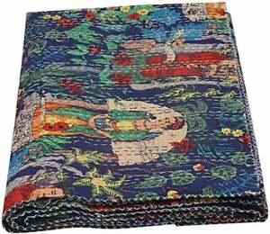 Indien-Handmade-Blue-Baby-Quilt-Throw-Reversible-Blanket-Bedspread-Cotton-Fabric