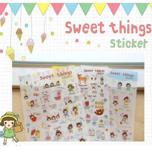 6 Blätter//lot Süße Dinge PVC Tagebuch Aufkleber Set DIY Aufkleber Kawaii Dekor T