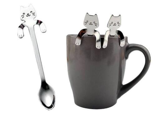 1PCS Cute Cat Spoon Long Handle Spoons Flatware Drinking Tools Kitchen Gadget