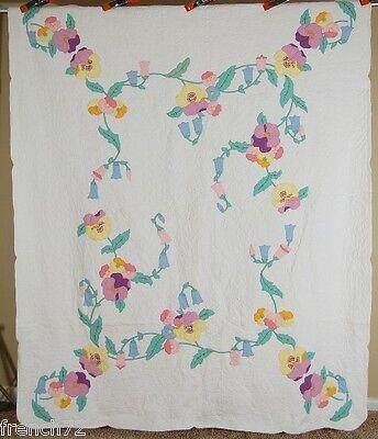 Vintage 30's Spring Flower Virginia Blue Bell & Pansy Applique Antique Quilt!