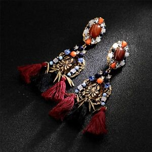 earrings-Nail-Big-Cotton-Thread-Black-Red-Amber-Blue-Ethnic-XX-5