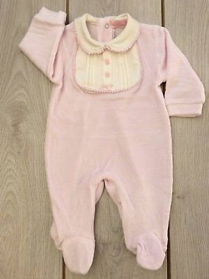 MINTINI BABY GIRL PRETTY WHITE VELOUR SMOCKED BABYGROW ROMPERS FRILL COLLAR 1-6M