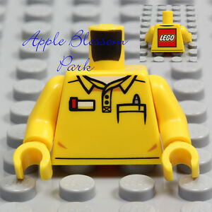 NEW-Lego-Minifig-YELLOW-SHIRT-TORSO-w-Buttons-amp-Pocket-Pen-Boy-Girl-Logo-Upper