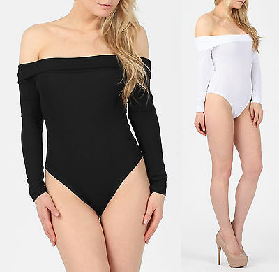 Geschickt Womens Long Sleeve Sexy Off Shoulder Foldover Ribbed Bardot Bodysuit Leotard Top