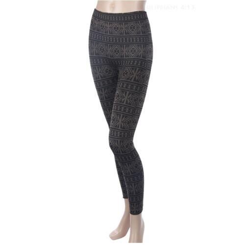 Women/'s Geometric Print Winter Thick Warm KNIT Leggings