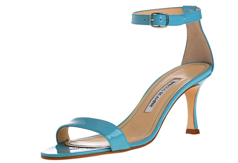 745 New Manolo Blahnik CHAOS Turquoise patent leather Sandals shoes 40 40.5 41