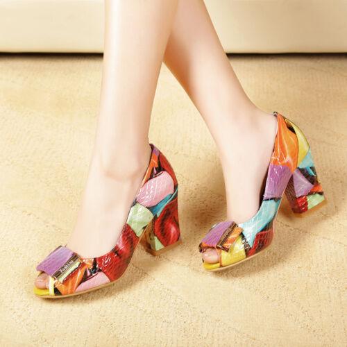 Zomer Mode Party Dance Hakken Elegante Schoenen Peep Toes Blok Womens Multicolor vNwPOym08n