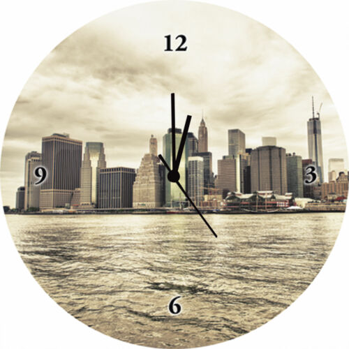 Artland Wanduhr Quarz Uhr Glas Motiv Ø 35 cm Städte Amerika New York Sepia F1OQ