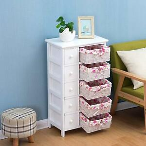 White Wooden 5 Drawer Chest Drawers Amp Wicker Baskets