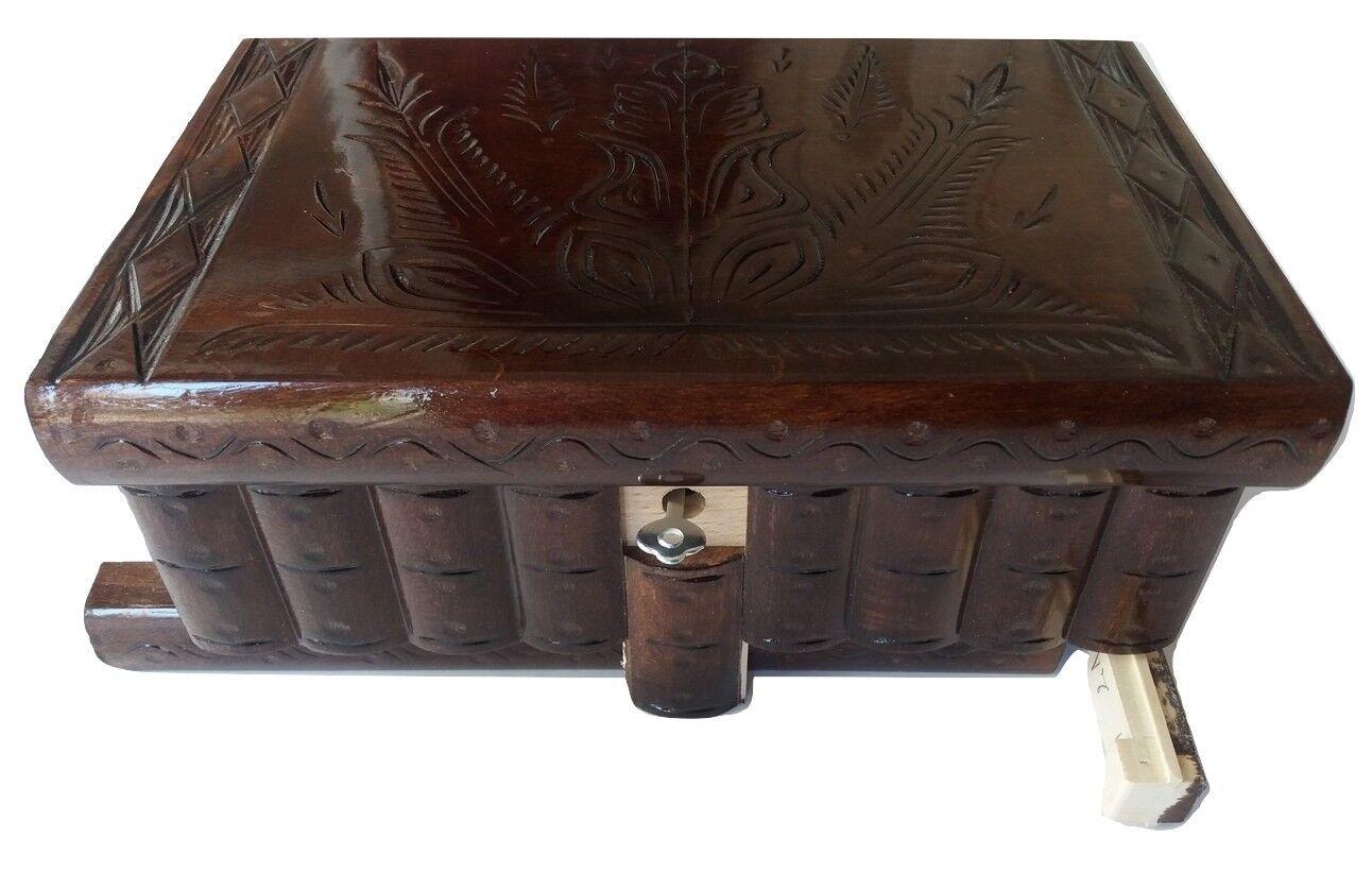 GRAND PUZZLE Bijoux Boîte Magique Marron Chocolat Neuf Grandes en BOIS Trésor de conservation