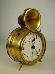 Ehrlich Antiker Schöner Wecker Trompeten Motiv Glocke Um 1900