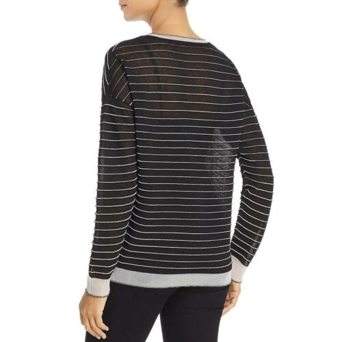 Kenneth Cole Women/'s Semi Sheer Striped Boxy Pullover Sweater