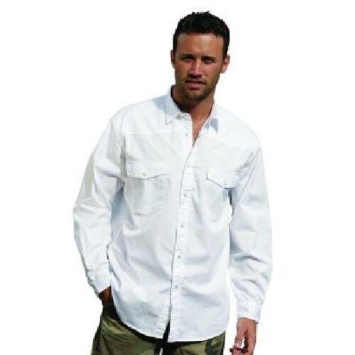 Uomo 100 Manica Camicia spazzolato lavato pre Novità bianca cotone Lunga Manica wIq64d