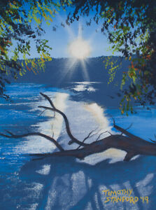 Mini Original Acrylic Painting Flooded River 9x12 Landscape by Timothy Stanford