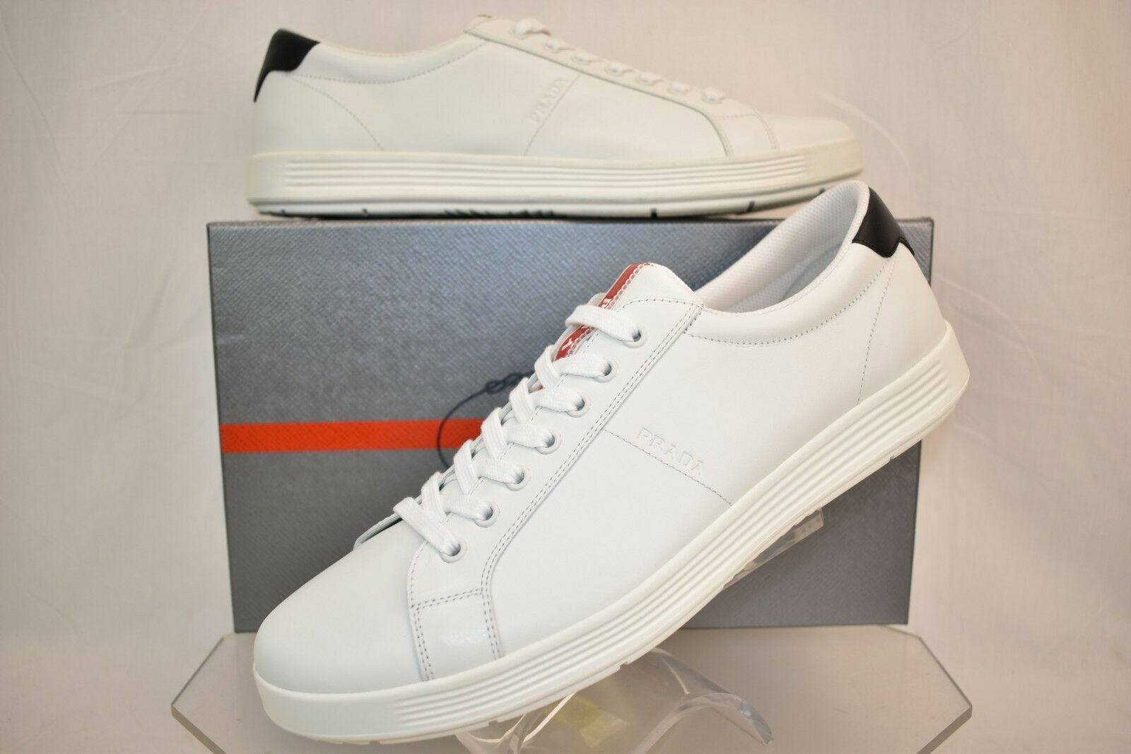 77518800402367 PRADA Men's White NERO Leather Lace up Logo SNEAKERS 8 US 9 for sale ...