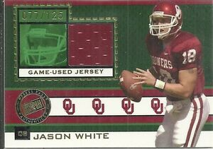 2005 Press Pass - JASON WHITE College Game Jersey OKLAHOMA SOONERS HEISMAN /125