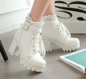 df38786098a Womens Lolita Lace Buckle Strap Gothic Block High Heels Ankle Boots ...