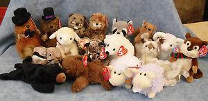 W-F-L TY Beanie Babies Forest And Wiesentiere Bear Bieber Raccoon Squirrel