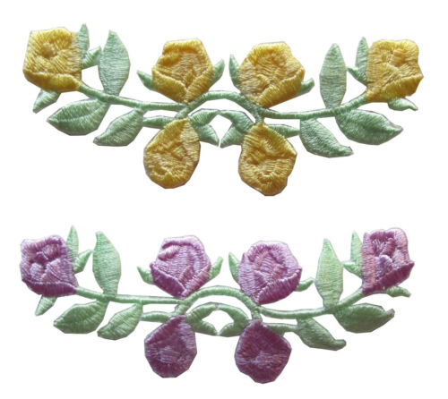 #3597 Lot 2Pcs Purple//Yellow Rose Vine Flower Embroidery Iron On Applique Patch