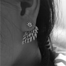 VINTAGE SILVER Angel Wings Rhinestone Crystal Dangle Stud Earrings Jewelry Gift