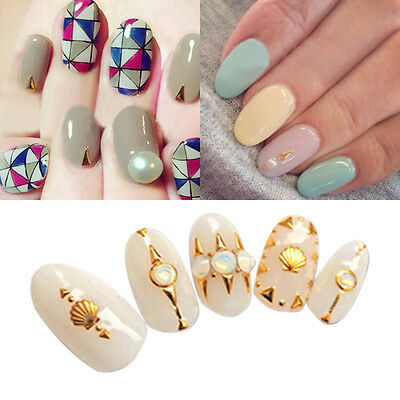 30Pcs/set 3D Nail Art Decoration Gold Silver Long Triangle Stud Manicure Tips
