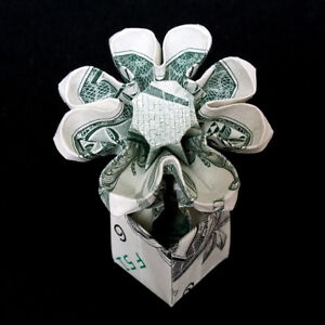 Origami dollar artificial flower in pot plant money gift real 1 bill image is loading origami dollar artificial flower in pot plant money mightylinksfo