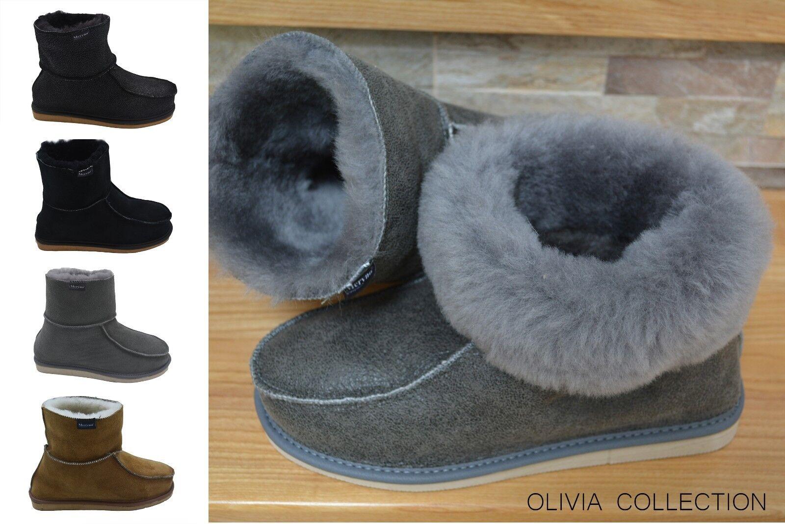 Castagna femmes Pantofole pelle di Pecora Vero Morbidi Olivia noir Naturale,