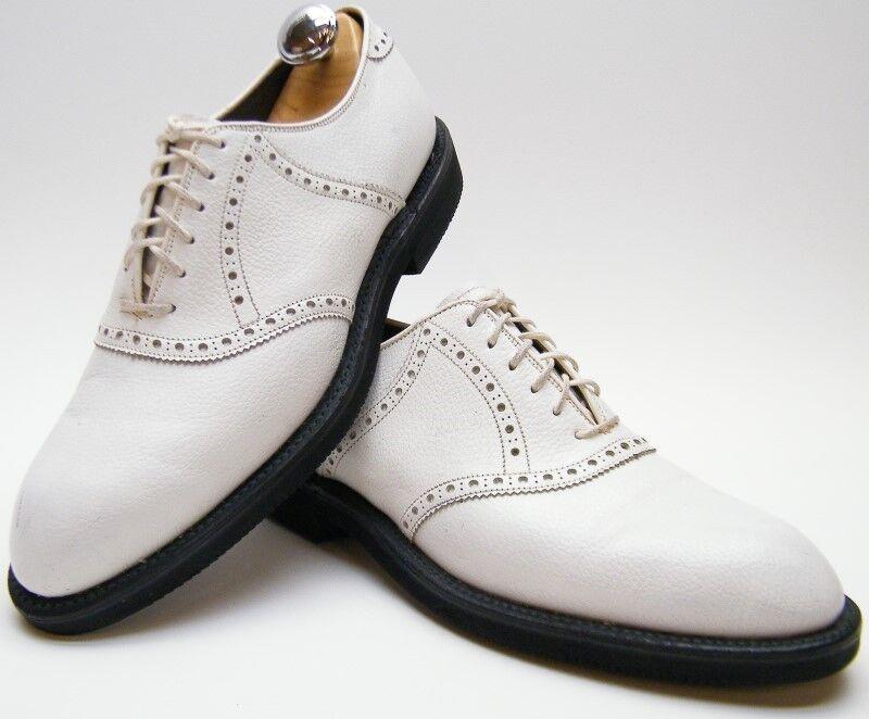 MENS VINTAGE FOOT JOY 55780 WHITE PEBBLE LEATHER OXFORD DRESS SHOES SZ 8.51 2 B