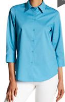 Foxcroft Shaped Fit 3/4 Sleeve Blouse Top Coastal Blue Size 6