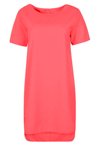 Ladies Womens Short Sleeve Crew Neck Step Drop Hem Shift Midi Dress Plain Ponte