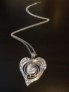 Large silver abstract metal heart pendant long curb chain lagenlook image is loading large silver abstract metal heart pendant long curb aloadofball Gallery