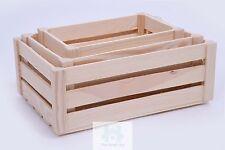 WOODEN STORAGE CRATES SET OF 3 -  PLAIN WOOD BOX DECOUPAGE CRATE SN100K