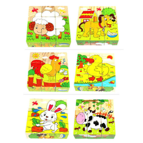 6 Sides Cartoon Car Puzzle Blocks Boys Girls Kids Wooden Educational Toys Gifts