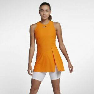 Nike-NikeCourt-TechKnit-Cool-Slam-Women-039-s-Tennis-Dress-Orange-New-Medium