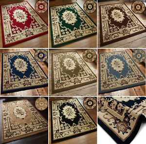 SMALL-EXTRA-LARGE-CLASSIC-TRADITIONAL-AUBUSSON-PATTERN-DURABLE-SOFT-PILE-RUGS