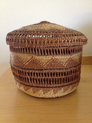 "N CA / Hupa Lidded Basket ~6.5 X 7"" Circa Early 20th century"