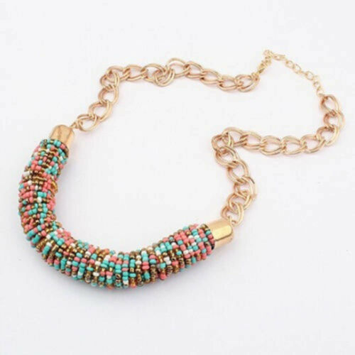 Beaded Chunky Fashion Gems Party Style Statement Collar Necklace Bib Chain