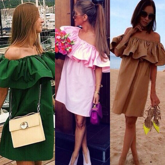 Sexy Women Boho Ruffle Sleeve Mini Dress Tunic Beach Party Evening Dress