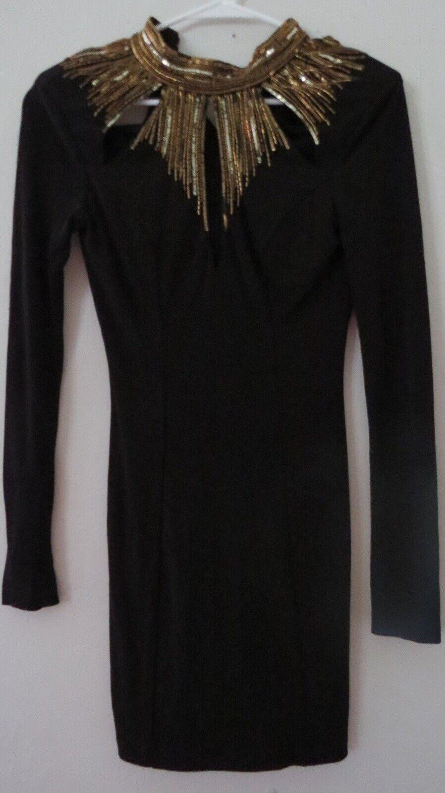 Bebe Schwarze Farbe Hoher Kragen Pailletten Langärmlig Cocktails Kleider Größe