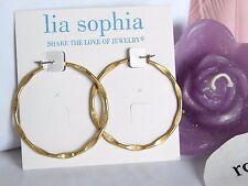 """Lia Sophia Matte Gold """"SIDE KICK"""" Hoop Pierced Earrings, NWT"""
