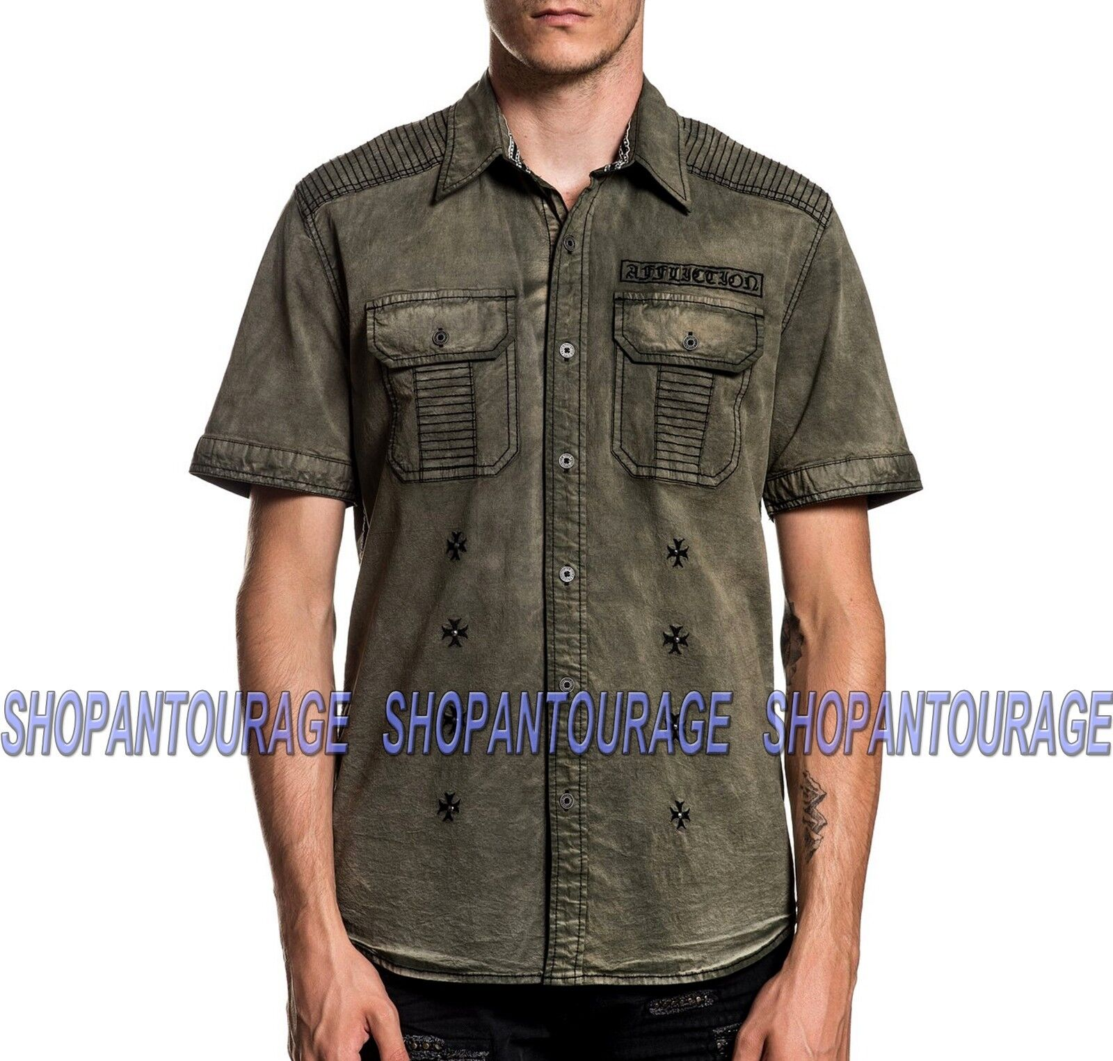 Affliction Reprieve 110WV772 New S S Fashion Button-Down Woven Shirt For Men