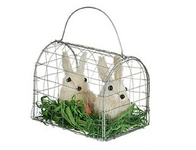 Easter Decor Sisal Bunny Rabbit Pair in Wire Cage Grass Carrot brown w// white