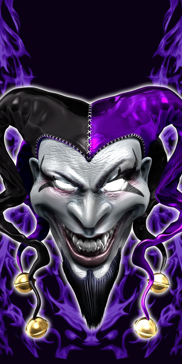 Evil Clown Jester cornhole board game decal wraps