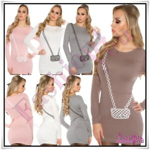 Womens-Jumper-Sweater-Casual-Long-Pullover-Ladies-Jumper-Dress-One-Size-6-12-UK