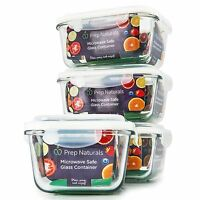 [premium] Glass Meal Prep Containers [4-pack] Microwave Freezer & Oven Safe -...