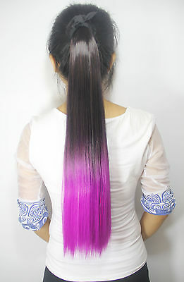 60cm Long Pony Tail Two Tone Ombre Party Dip Dye Clip In Ponytail Extensions New