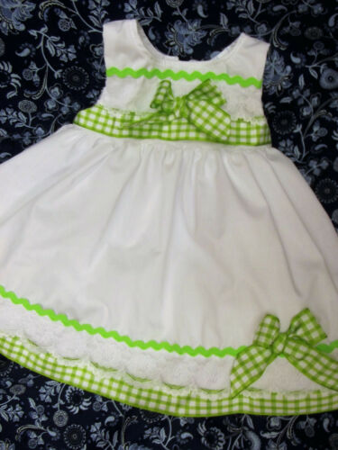 DREAM SALE SUMMER LIME TRIM SLEEVELESS SPANISH LINED NETTED DRESS 0-4 YEARS