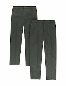 Ex-M-amp-S-Boys-Mens-Grey-Navy-School-work-Trousers-Age-2-3-to-15-16-Waist-34-amp-36