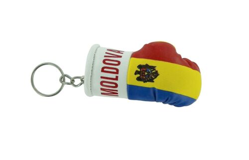 PORTACHIAVI pelle porta chiavi auto keychain Guantoni da boxe bandiera moldova