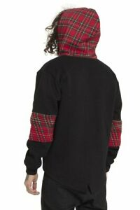Black-amp-Tartan-Top-Hoody-Hoodies-L-Warm-Jawbreaker-Punk-Emo-Devil-Dog-Plaid